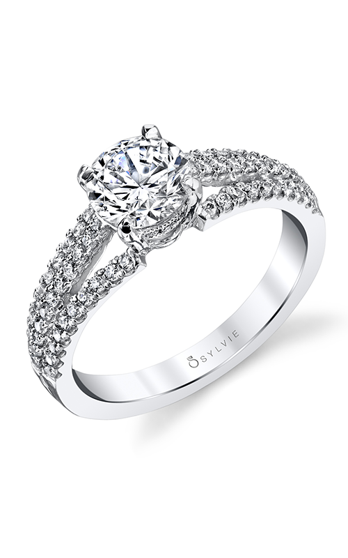 Sylvie 14K White Gold Split Shank Diamond Engagement Ring
