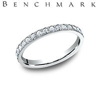 Benchmark 14k White Gold Womans Eternity Diamond Wedding Band