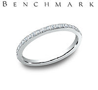 Benchmark 14k White Gold Womans Wedding Band With Twenty Eight Diamonds