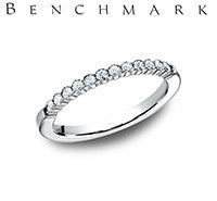 Benchmark 14k White Gold Womans Wedding Band With Twelve Diamonds