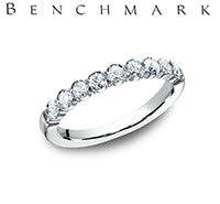 Benchmark 14k White Gold Womans Wedding Band With Nine Diamonds