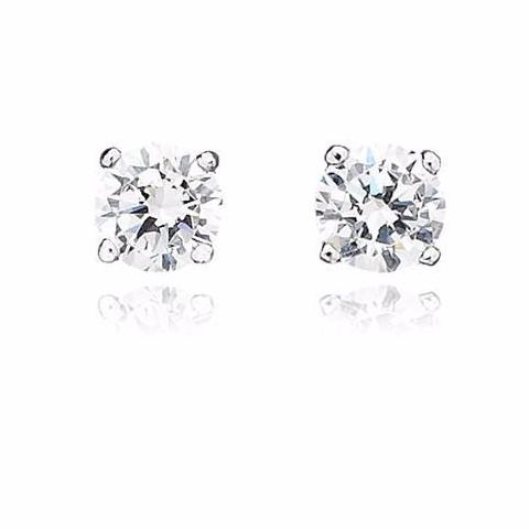 Solitaire Brilliant Earrings 2.00 Carat Finished in Pure Platinum