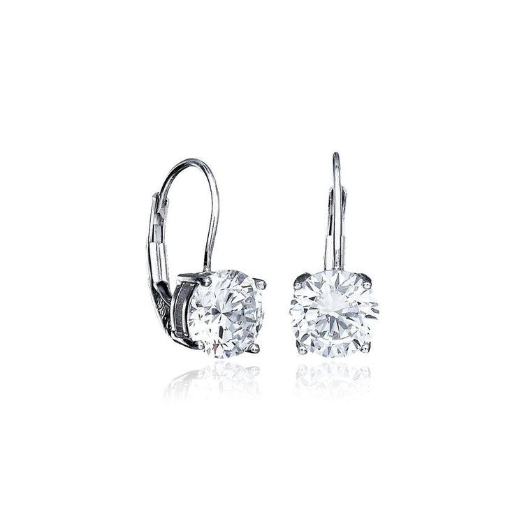 Solitaire Brilliant Cut Leverback Earrings Finished in Pure Platinum