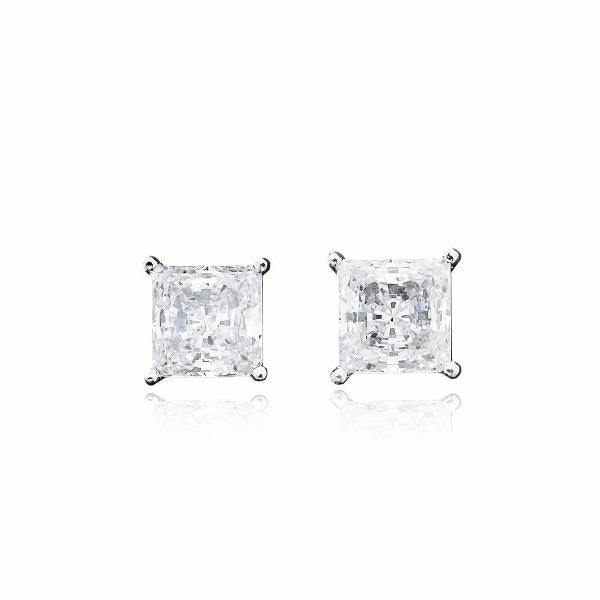 Solitaire Princess Earrings 3.00 Carat Finished in Pure Platinum