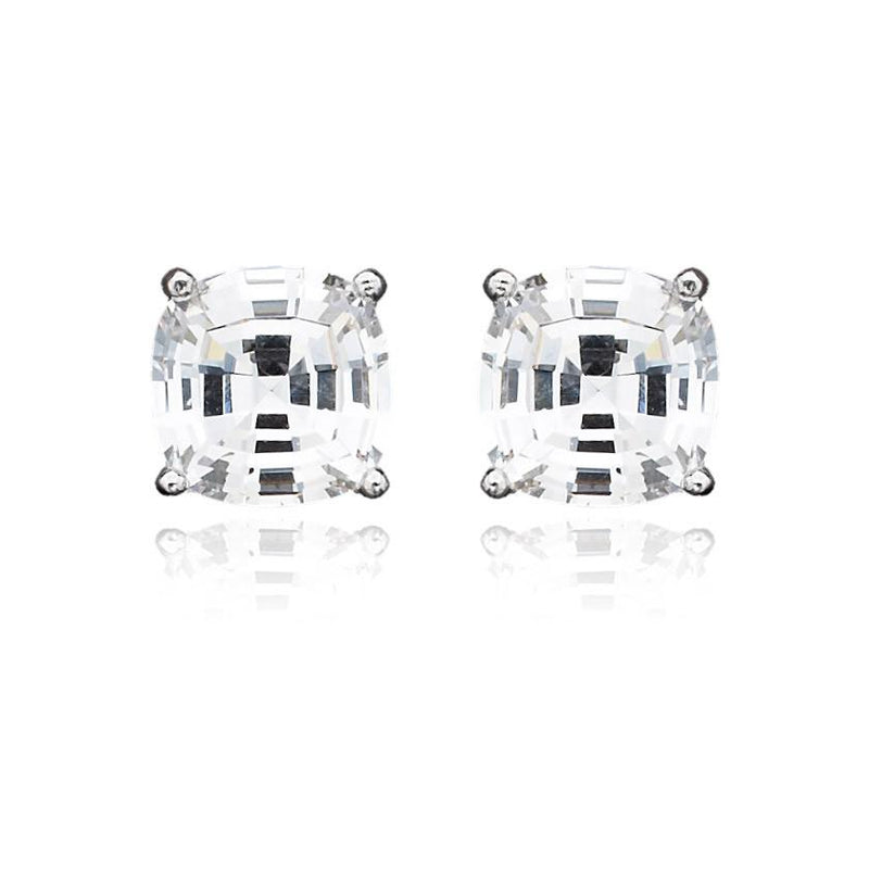 Crislu Solitaire Asscher Earrings 4.00 Carat Finsihed in Pure Platinum