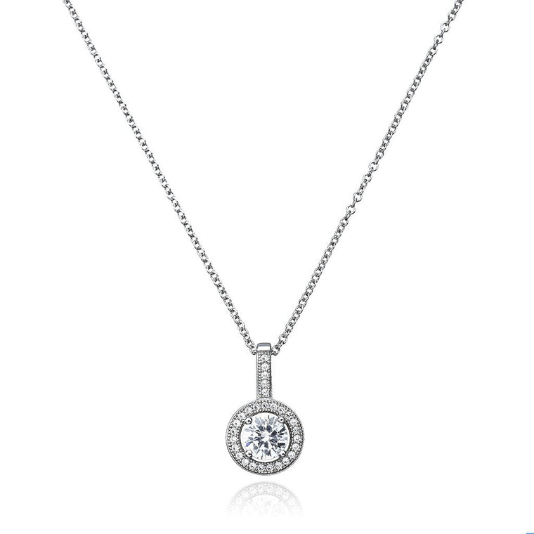 Brilliant Cut Halo Pendant Finished in Pure Platinum