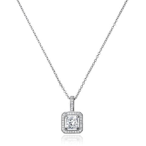 Princess Cut Pendant with Halo Finished in Pure Platinum