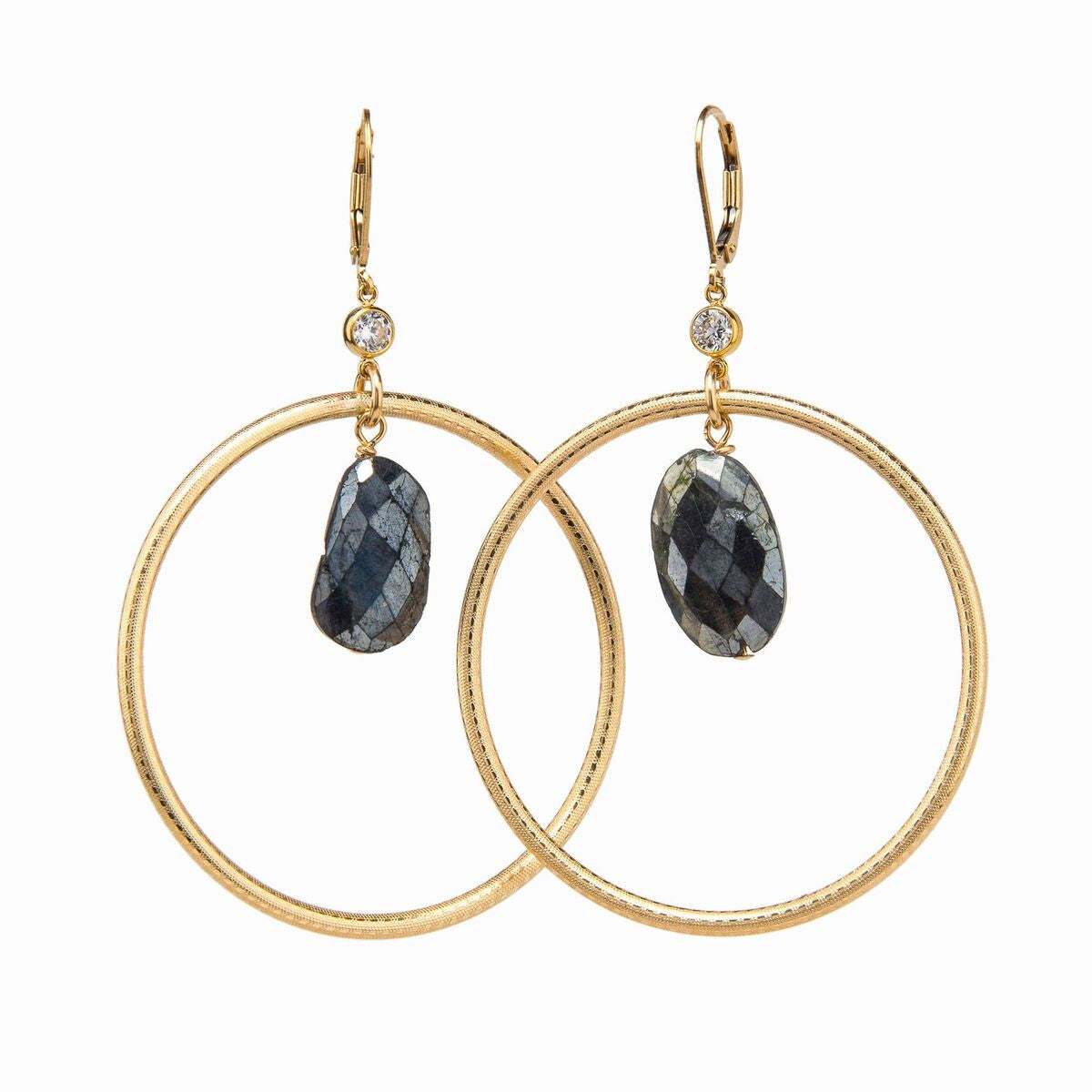Taylor And Tessier Labradorite Gold Hoop Earrings