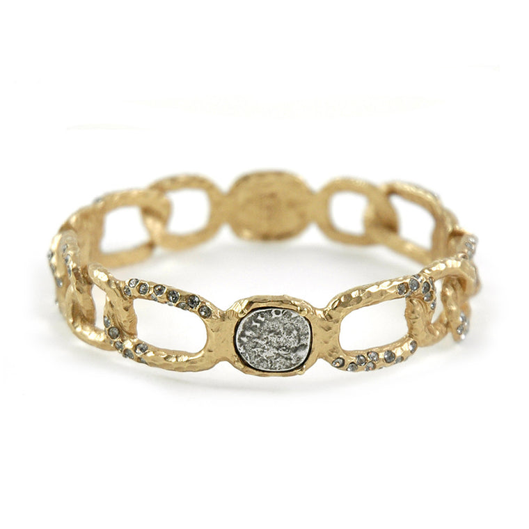 GOLD FES LINK BRACELET W/COIN AND CRYSTALS