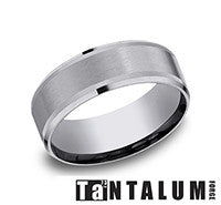 Benchmark Grey Tantalum Satin Center Mens Comfort Fit Wedding Band