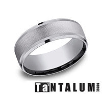 Benchmark Grey Tantalum Wire Brush Center Mens Comfort Fit Wedding Band
