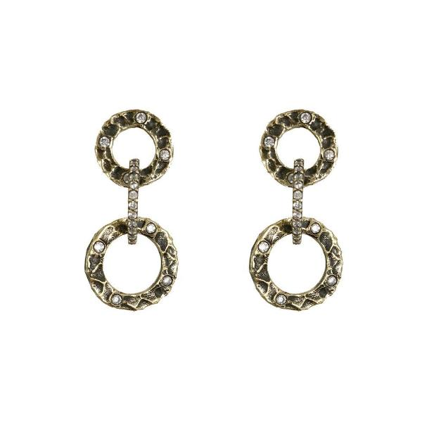 Gold & Crystal Hammered Circle Earrings