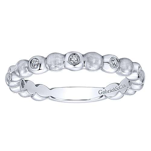 Gabriel & Co 14k White Gold Textured and Bezel Set Diamond Stackable