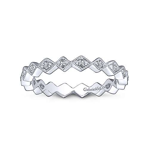Gabriel & Co 14K White Gold Geometic Diamond Stackable Band