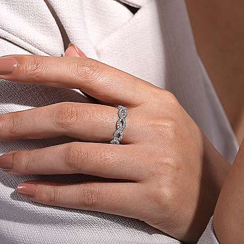 Gabriel & Co 14k White Gold Woven Openwork Stackable Ring