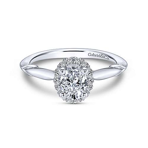 Gabriel & Co 14K White Gold Oval Halo Diamond Engagement Ring