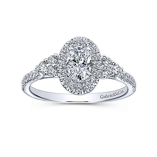 Gabriel & Co Adore 14k White Gold Oval Halo Engagement Ring