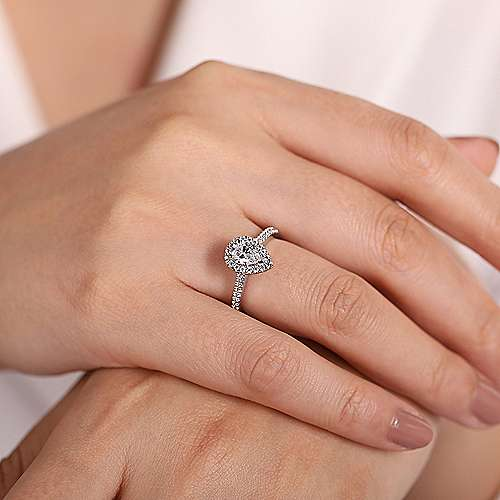 Gabriel & Co 14K White Gold Pear Shape Halo Diamond Engagement Ring