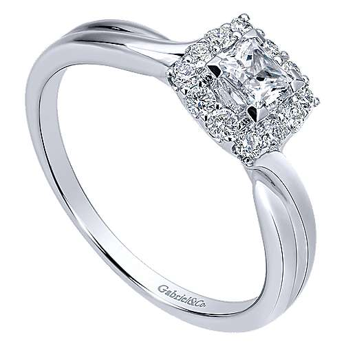 Gabriel & Co 14K White Gold Princess Halo Diamond Engagement Ring