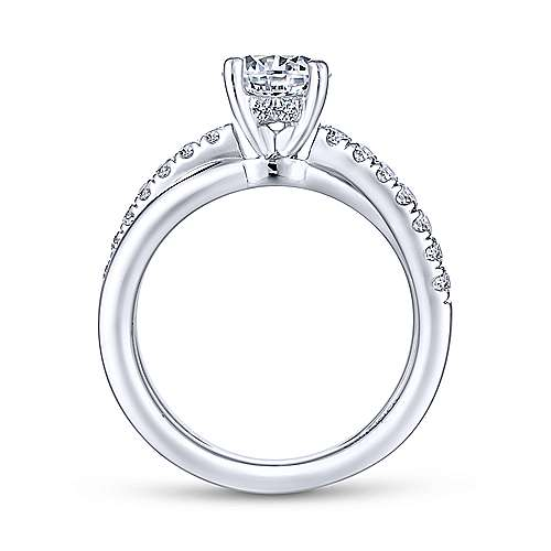 Gabriel & Co. 14K White Gold Round Diamond Engagement Ring W/ Split Shank