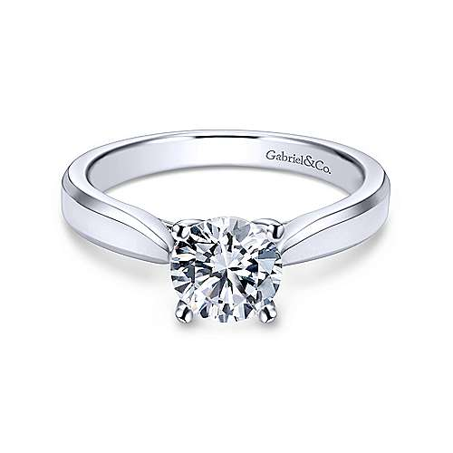 Gabriel & Co 14K White Gold Round Diamond Engagement Ring