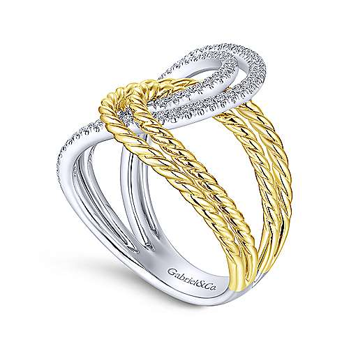 Gabriel & Co 14K White/Yellow Gold Interlocking Loops Wide Band Diamond Ring