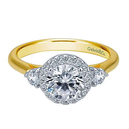 Gabriel & Co 14K White-Yellow Gold Rnd Three Stone Halo Diamond Engagement Ring