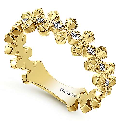 Gabriel & Co 14K Yellow Gold Geometic and Milgrain Stackable Ring