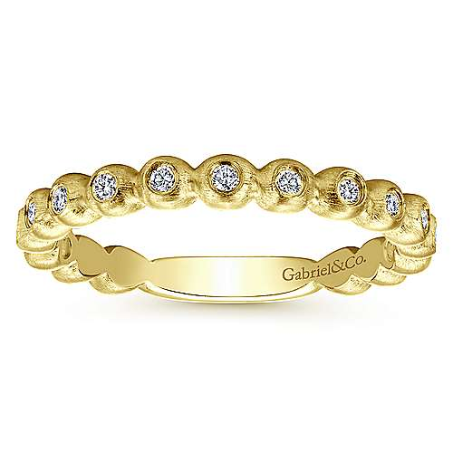 Gabriel & Co Stackable Brushed Metal Diamond Ring