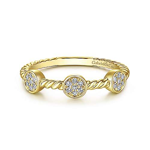 Gabriel & Co 14K Yellow Gold Twisted Round Diamond Stackable Ring