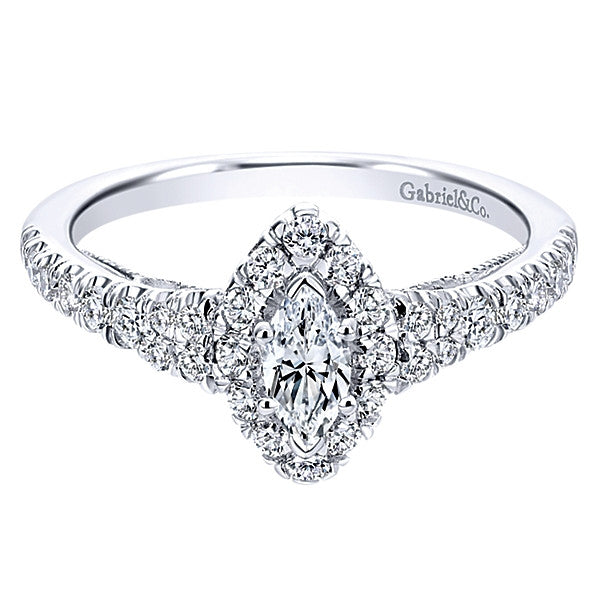 Gabriel & Co 14k White Gold Marquise Halo Engagement Ring