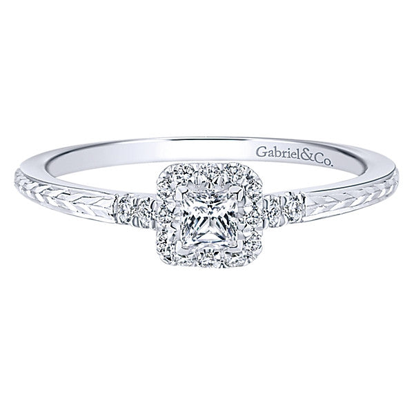 Gabriel & Co Vintage 14k White Gold Princess Cut Halo Engagement Ring