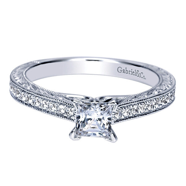 Gabriel & Co Adore Vintage 14k White Gold Princess Cut Straight Engagement Ring