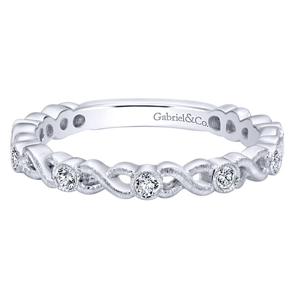 Gabriel & Co 14k White Gold Openwork Diamond Stackable