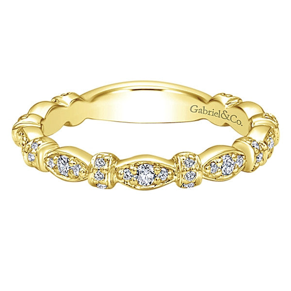 Gabriel & Co 14K Yellow Gold and Diamond Patterned Stackable Band