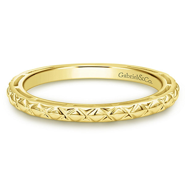 Gabriel & Co 14K Yellow Gold Engraved Stackable Band