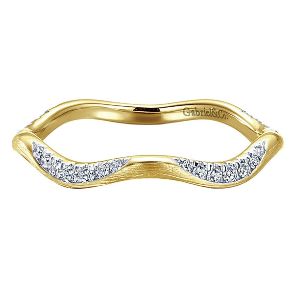 Gabriel & Co Stackable Textured Diamond Wave Ring.