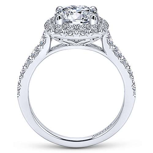 Gabriel & Co 18K White Gold Round Halo Diamond Engagement Ring