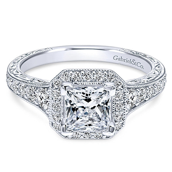Gabriel & Co Vintage 14k White Gold Princess Cut Halo Semi Mount Engagement Ring