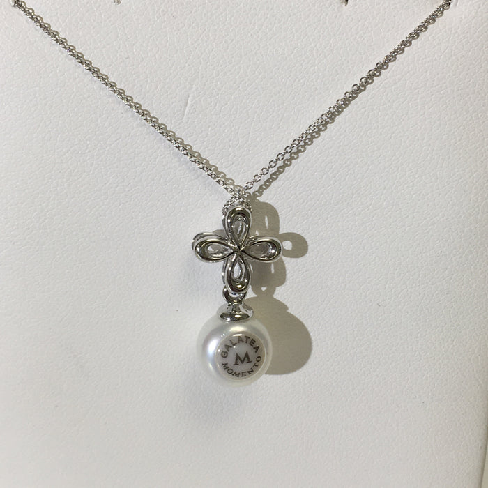 Galatea 10mm Pearl Pendant with 14k white Gold and Diamond Necklace