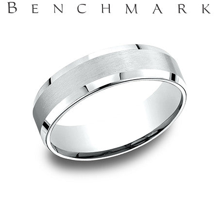Benchmark 14k White Beveled Edge Satin Center Comfort Fit Wedding Bandÿ