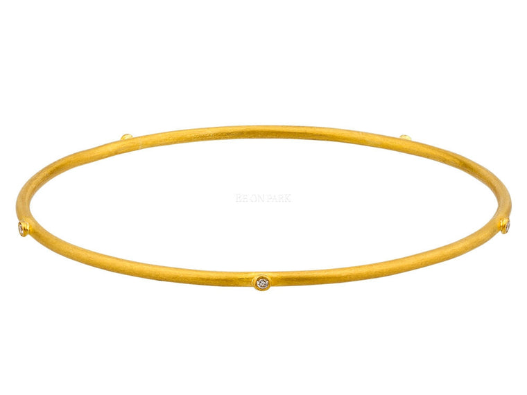 Lika Behar Thin Gold Hammered 24k Gold Bangle Bracelet With Diamonds