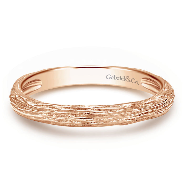 Gabriel & Co 14k Rose Gold Brushed Stackable Band