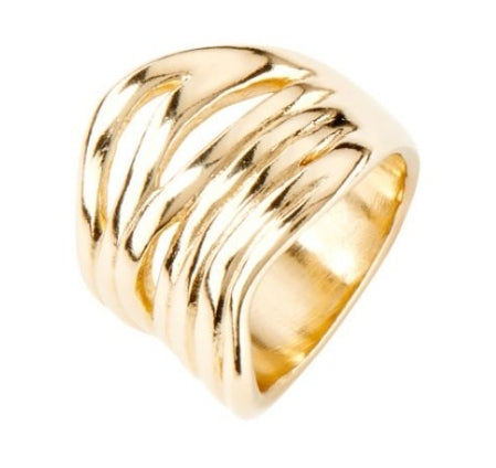 Uno De 50 Nihiwatu Beach 18KY Gold Plated Wide Ring