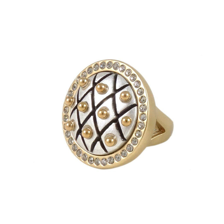 FISHNET FRAMED DOME RING