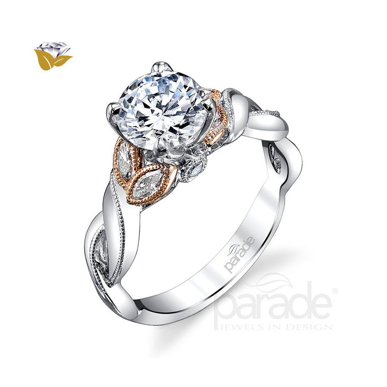 Parade 18K Two Tone Marquise Leaf Engagement Ring