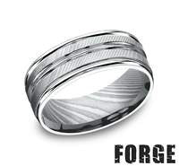Benchmark Damascus Steel Mens Comfort Fit Wedding Band