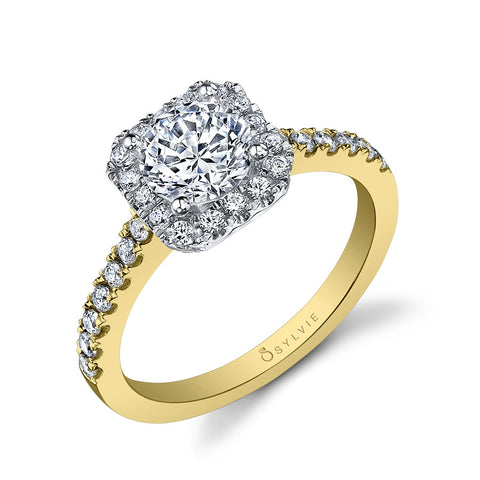 Sylvie 14K Two Tone Halo Engagement Ring