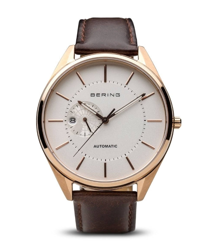 Bering Automatic Brushed/Polished Rose Gold Brown Leather Band