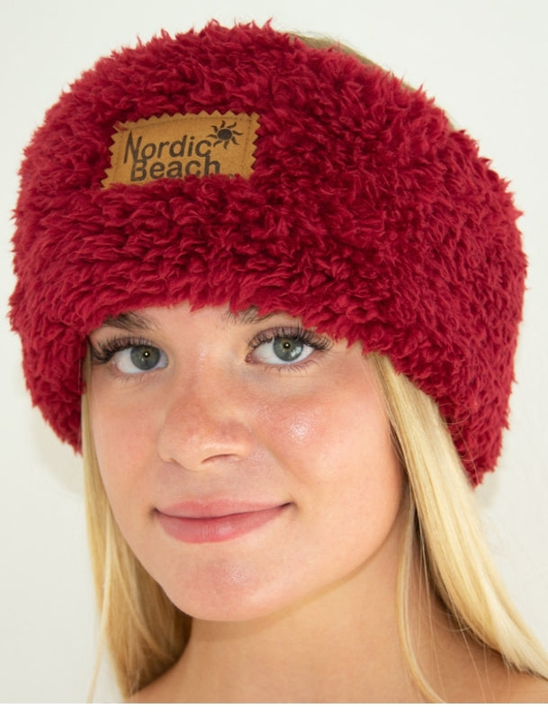 Nordic Beach Red Velvet Cozy Head Wrap